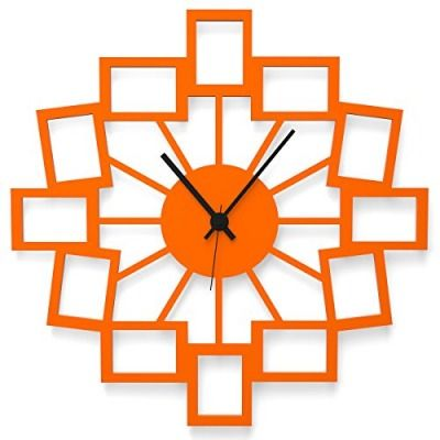 """Wandkings Wanduhr """"Kleine Fotos"""" aus Acrylglas, in 11 Farben erhältlich (Farbe: Uhr = Orange glänzend; Zeiger = Schwarz)"""