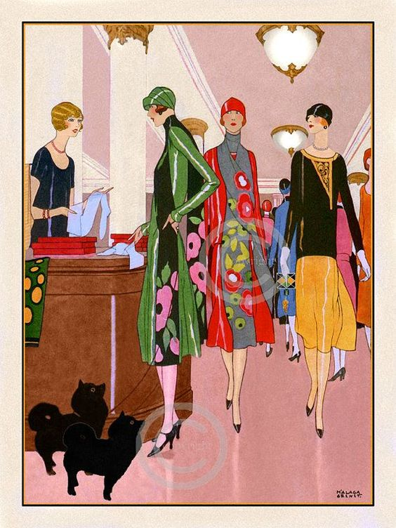 Art Deco Flapper Fashion Print, Ladies shopping, with Pomperanian dogs, Department store, 1925, Floral Dresses, Giclee Fine Art Print 12x16