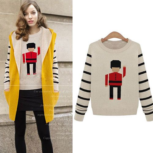 Black Stripes Cute Solider Pattern Knit Sweater Crewneck Pullover