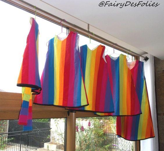 Robe cérémonie arc en ciel cortège rainbow mariage arc en ciel création sur mesure 5 robes *reservées*