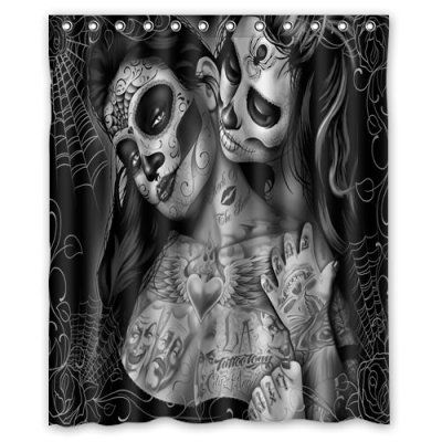Curtains Ideas black shower curtain with white flower : Custom Print Design Black and White Art Sugar Skull Flower Shower ...