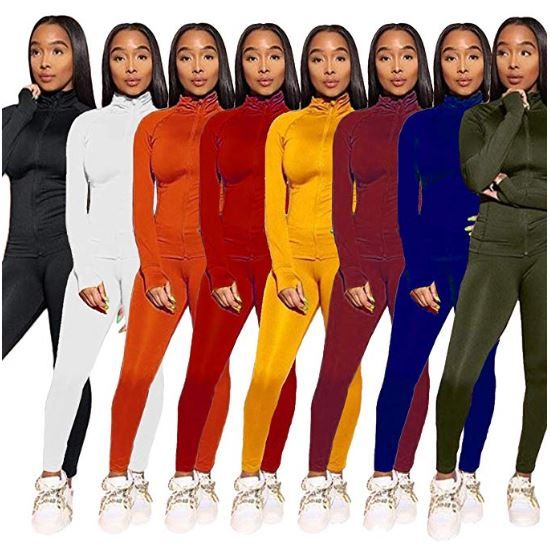 2 Piece Outfits for Women Casual Long Sleeve Solid Color Full Zip Jacket Hoodie Tops Bodycon Long Pants Tracksuits