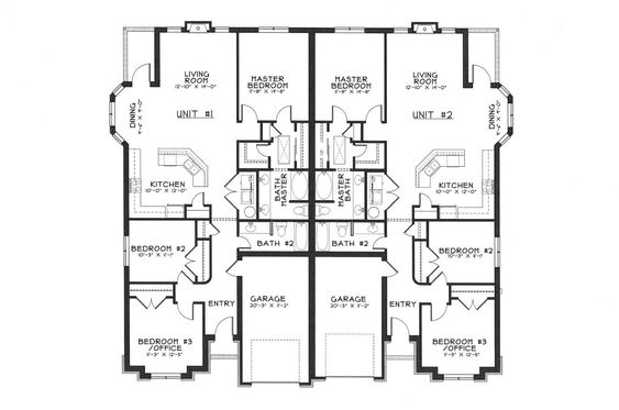 Single story duplex floor plans duplex ideas pinterest for Single story duplex