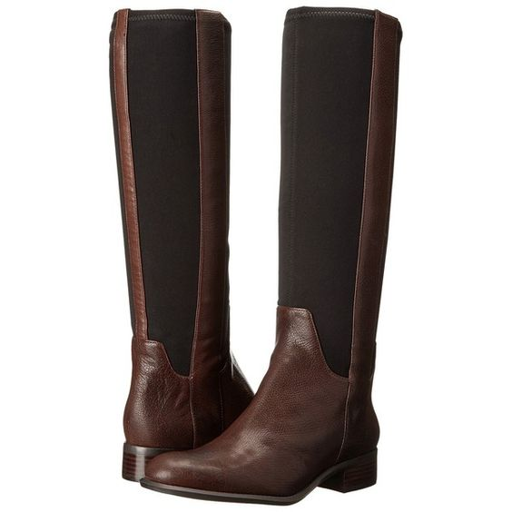Nine West JoeSmo (Dark Brown/Black Leather) Women's Pull-on Boots (53 CAD) ❤ liked on Polyvore featuring shoes, boots, black, knee-high boots, leather boots, black knee high boots, black knee boots, faux-fur boots and slip on boots