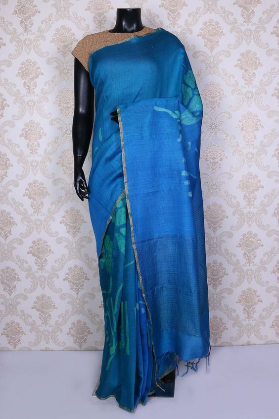 Royal blue & sea green pure tussar silk saree with dull gold border -SR14940 #royalblue #tussarsilk #sari