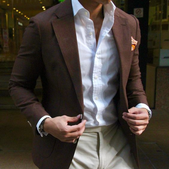 Casual outfit for men - Brown Blazer, Khaki pants