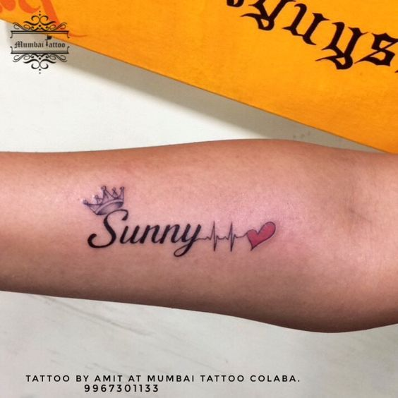 Sunny Name Tattoo With Heart Ratting Tattoo Made On Wrist By Big Guys Tattoo Studio In Mumba Name Tattoos On Wrist Name Tattoos For Girls Name Tattoos For Moms