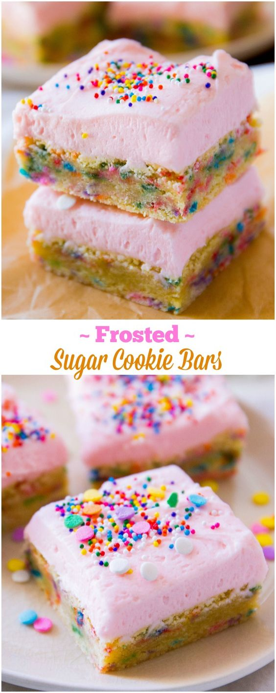 Frosted Sugar Cookie Bars Dessert Recipe via Sally's Baking Addiction - Wow! Sugar cookies where the frosting is as thick as the cookie! #dessertbars #cookiebars #barsrecipes #dessertforacrowd #partydesserts #christmasdesserts #holidaydesserts #onepandesserts