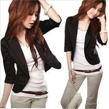 Women Clothing Slim Suit Short Coat Blazer Waist Jacket Outerwear 2 Color: