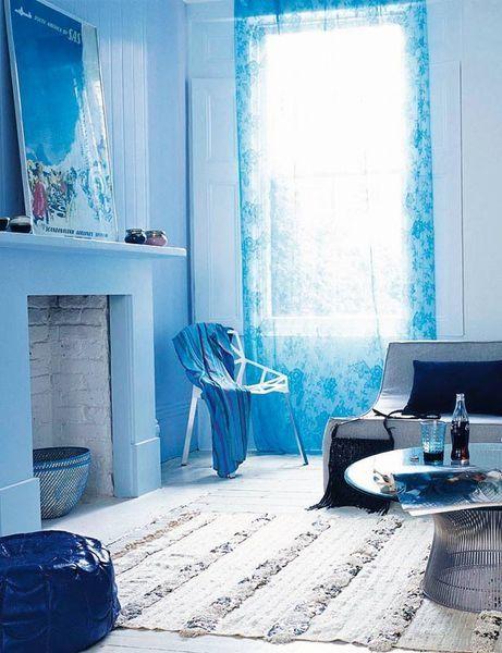 A beautiful blue living room
