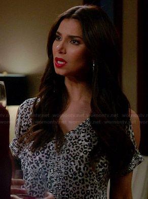 Carmen's leopard print cold shoulder top with rhinestones on Devious Maids.  Outfit Details: http://wornontv.net/34493/ #DeviousMaids