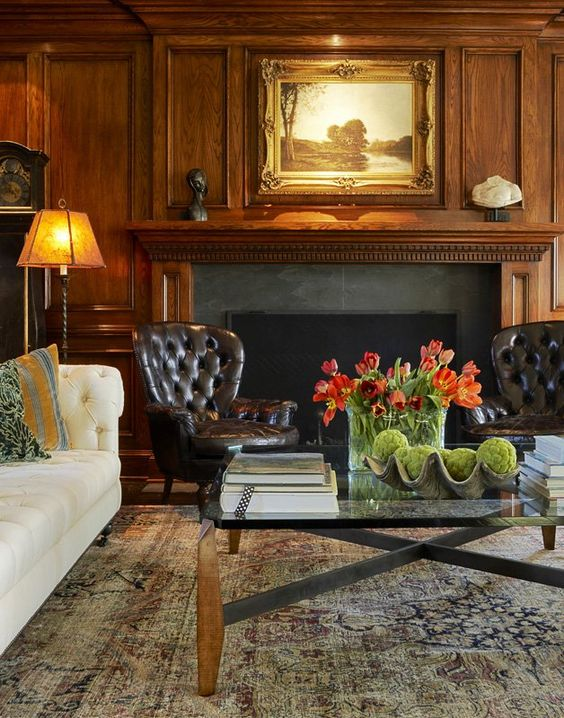 An inviting masculine den warm wood paneling tufted