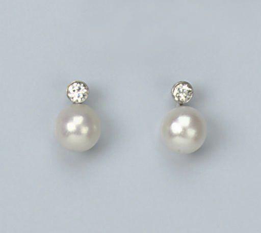 7.5 mm Freshwater Pearl Earring /& Pendentif sertie de diamants en argent sterling