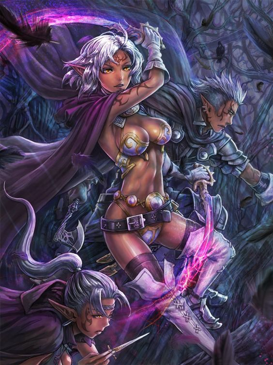 1boy 2girls armor axe belt bikini_armor black_legwear boots burunuu_(bullnukko) cape dark_elf dark_skin dual_wielding ear_piercing…