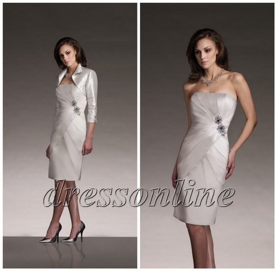 silver mother of the bride dresses - Noble-Silver-Inexpensive-Knee ...