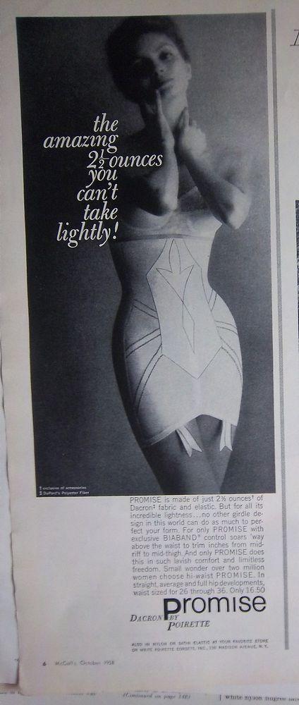1958 Vintage Womens Promise by Poirette High Waist Girdle Fashion Ad