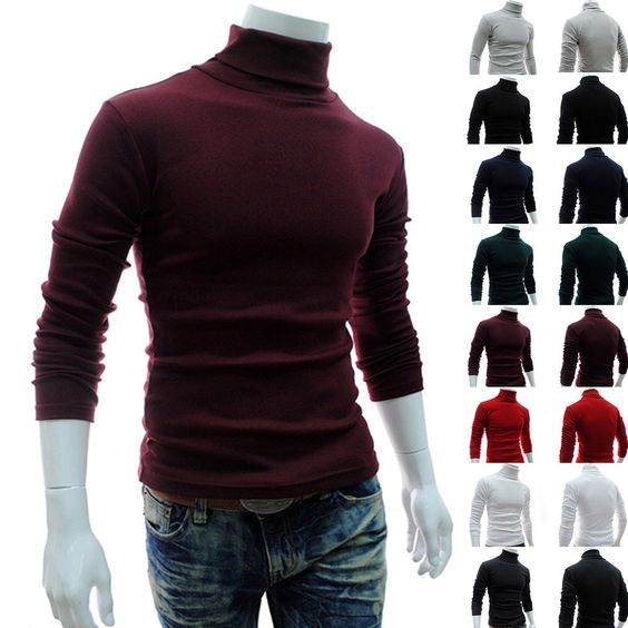 Long Sleeve Tops Turtleneck Sweater Casual Slim Fit Classic Stylish Jumper Men #New #Vest