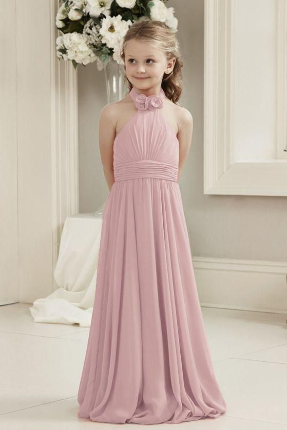 Mia Halter Neck Dusky Pink In 2020 Girls Bridesmaid Dresses Teenage Bridesmaid Dresses Pink Flower Girl Dresses