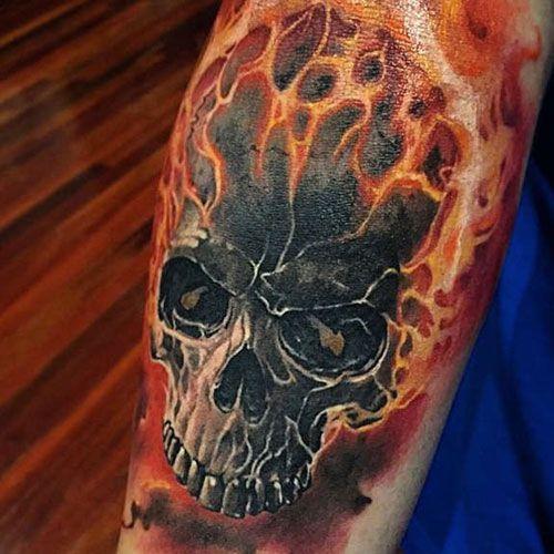 Flaming Skull Tattoo Best Skull Tattoos For Men Cool Skull Tattoo Designs And Ideas For Guys Tattoos Skull Tattoo Design Skull Tattoos Skull Sleeve Tattoos
