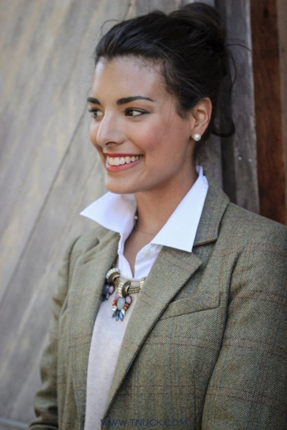 Our favorite look: White button down, cashmere sweater, statement necklace, and tweed elbow patch blazer.: