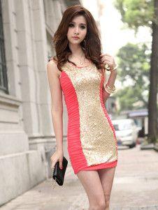 Sexy Red Stripe Cotton Sleeveless Sexy Bodycon Dress