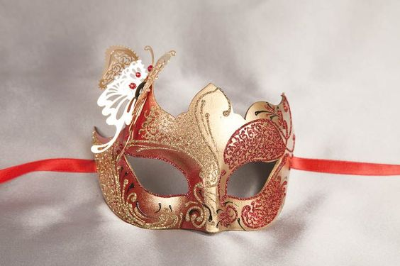 Masquerade Masks with Filigree Metal Butterfly - TERESA GOLD