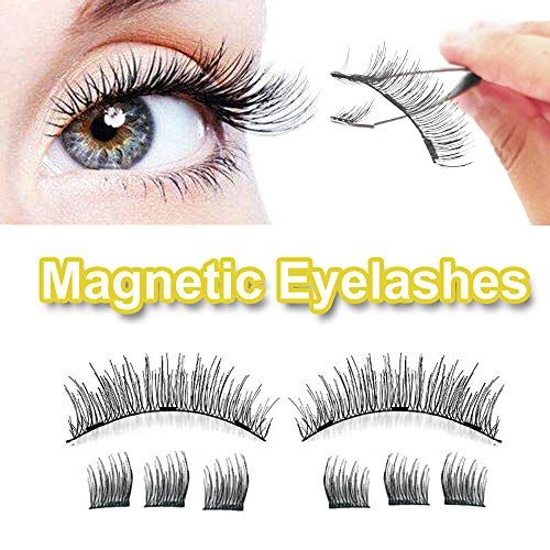 Magnetic Eyelashes No Glue 3d Reusable 3 Magnets False Full Size Lightweight Natural Look Magnet Lashes False Las Magnetic Eyelashes False Lashes Lashes False