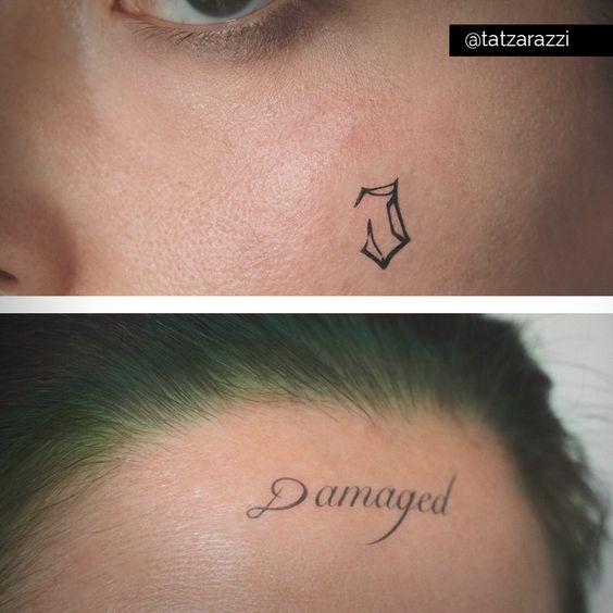 Jared leto 39 s joker damaged and j temporary tattoos by for Joker damaged tattoo