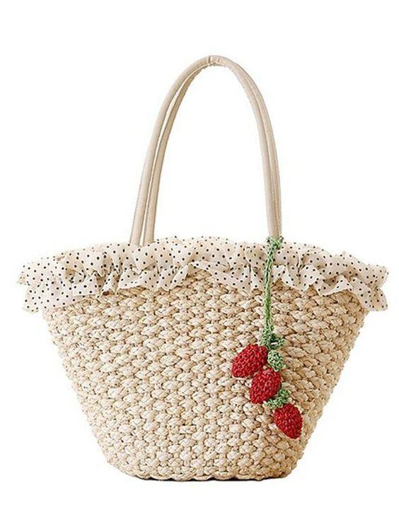 Sulida Lady Erdbeere pastorale Stil natürlichen Mais Schale Stroh gewebte Tasche mit Spitze: Amazon.de: Schuhe & Handtaschen