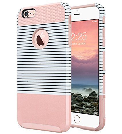 iPhone 6s Case, iPhone 6 Case, ULAK Hybrid Slim Case With Hard PC and Inner Rubber Cover for Apple iPhone 6S 4.7 Inch & iPhone 6 4.7 Inch Device (Rose Gold/Pink/Minimal Stripes)