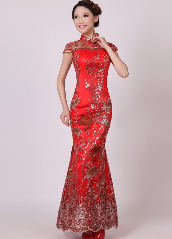 Women 39 s long asian dresses women 39 s mermaid long chinese for Chinese wedding dresses online