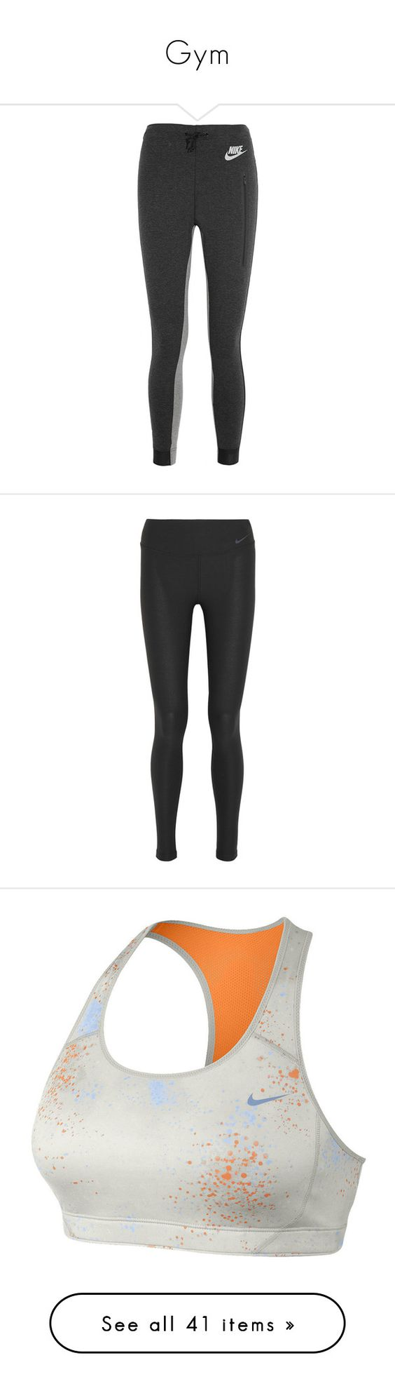 """Gym"" by anaritaferreira ❤ liked on Polyvore featuring activewear, activewear pants, pants, sport, athletic, jeans, track pants, nike activewear, nike sportswear and athletic track pants"