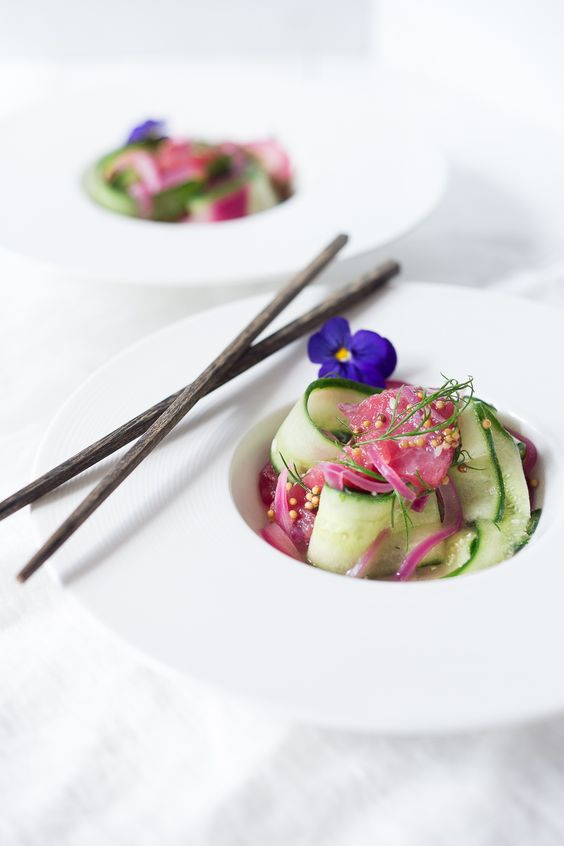 Cucumber Ahi Salad with pickled onion, dill and mustard seeds- a simple healthy meal that's low carb, gluten free, and paleo. | www.feastingathome.com:
