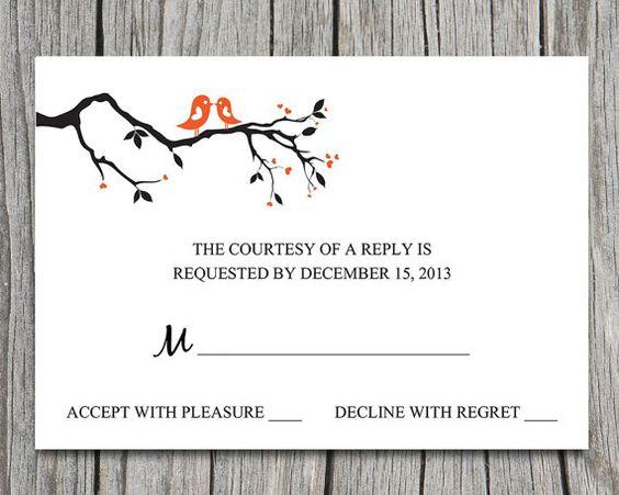 Wedding RSVP Template Response Card Printable Wedding Invitation ...