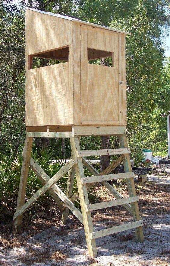 Hunting blind on stand elevated tower platform deer turkey for Elevated deer hunting blinds