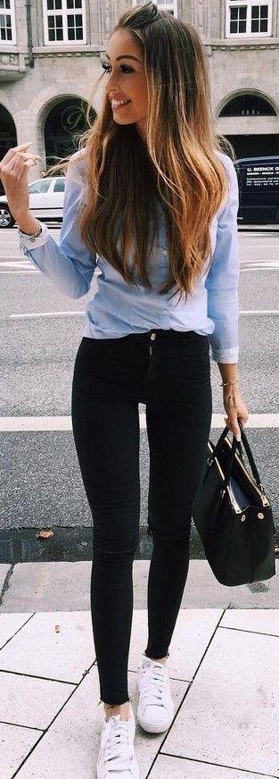 #fall #trending #outfits   Blue Denim + Black Denim