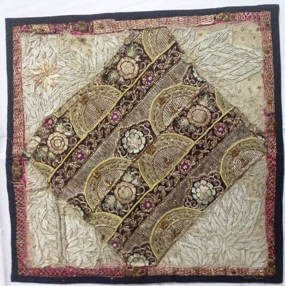 Vintage fabric hand embroidered beautiful zardozi cushion cover/tapestry