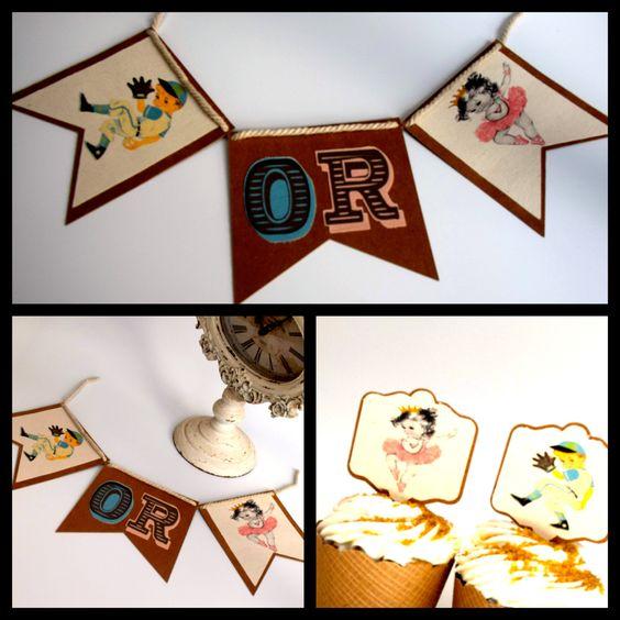 Vintage Gender Reveal Banner,  Vintage  Cupcake Toppers  Photo Shoot Prop, Baby Shower Banner, Vintage Baby Shower, Vintage Party, by PartayNaBox on Etsy