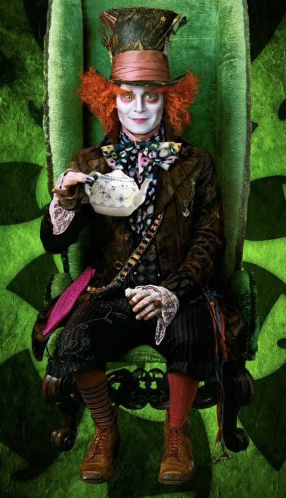 The 10 Hottest Halloween Costume Ideas For Curly Hair In 2020 Tim Burton Mad Hatter Mad Hatter Costumes Johnny Depp Mad Hatter