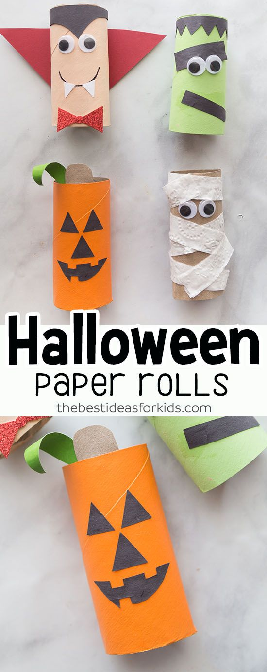 Halloween Craft for Kids - Halloween Toilet Paper Roll craft is easy and fun to make for Hallowen! Kids will love making these. These are perfect for toddlers and preschoolers. #bestideasforkids