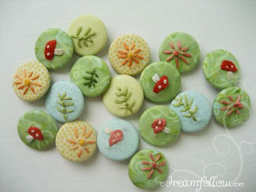 cute! embroidery buttons