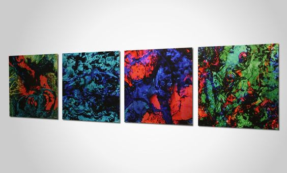 Funky neon colored metal wall art. Originally a thick textured painting, HD photographed and printed on aluminum!  http://www.metalartstudio.com/product/bright-lights