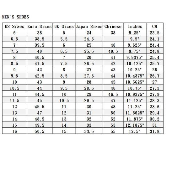 男鞋尺寸對照表