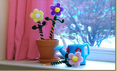 Quot Fuzzy Stick Quot Flower Pencil Toppers Craft At Liliana S