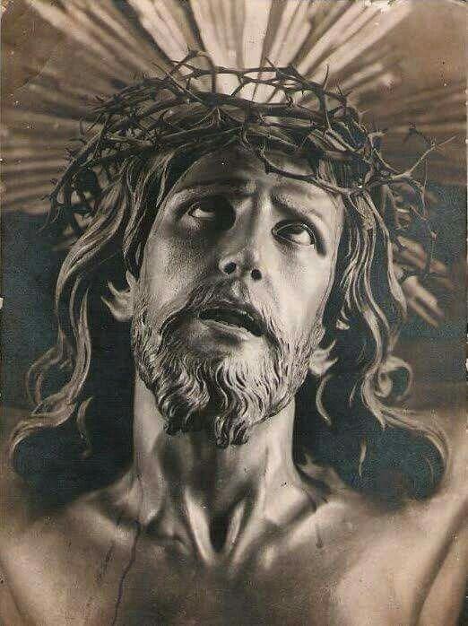 Nosso Senhor Jesus Cristo na cruz olha para o céu.