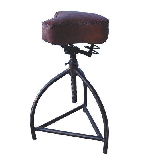 Drehhocker mit Fahrradsitz aus Leder