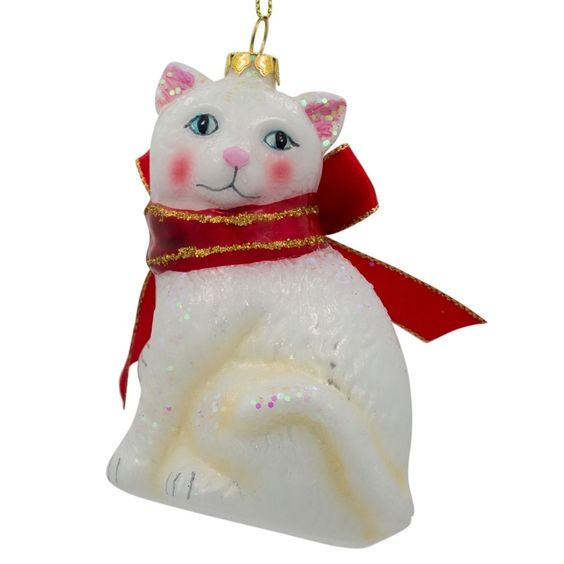 "4.25"" White Persian Cat with Bow Blown Glass Christmas Ornament 