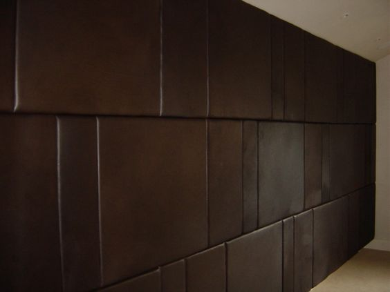 Brown Wall Paneling : Glamour padded wall panels for bedroom brown leather