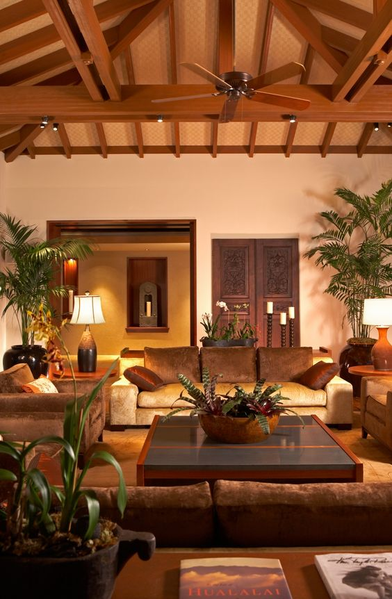 Exotic Interior Design in Hualalai on Home Design|Decorative Home Interior. Would love this with different couches and maybe lighter walls to make it feel a bit less dark.