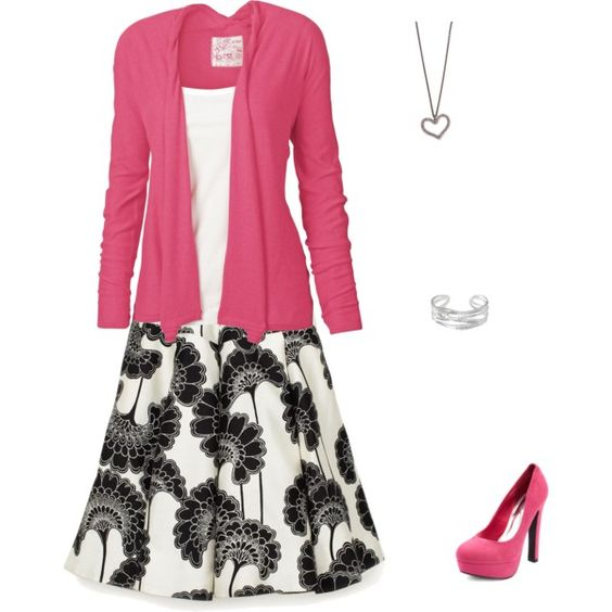 pink/black/skirt. This looks like me, maybe not the shoes, I would kill myself on those.